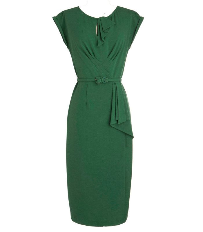 1950's Green Dress by Stop Staring.  Order your bombshell dress today from The Atomic Boutique! http://theatomicboutique.com/collections/stop-staring/products/stop-staring-timeless-wiggle-dress-green