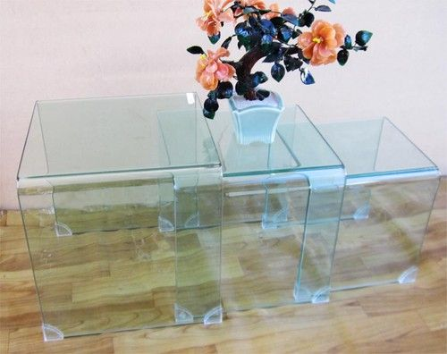 $149 Ebay NEW Modern Clear Glass 3 Pieces SET Coffee TEA Table Lamp Side Phone Table | eBay