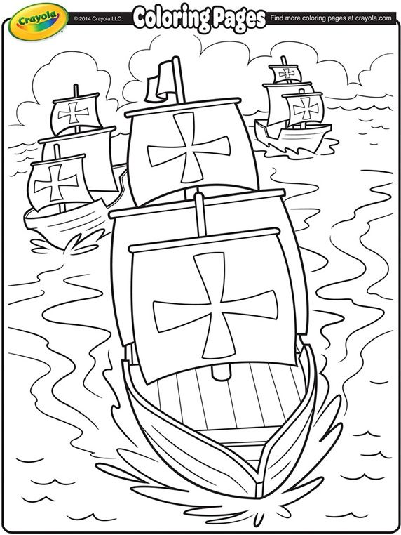 Nina, Pinta, and Santa Maria coloring sheet. Columbus coloring sheet.