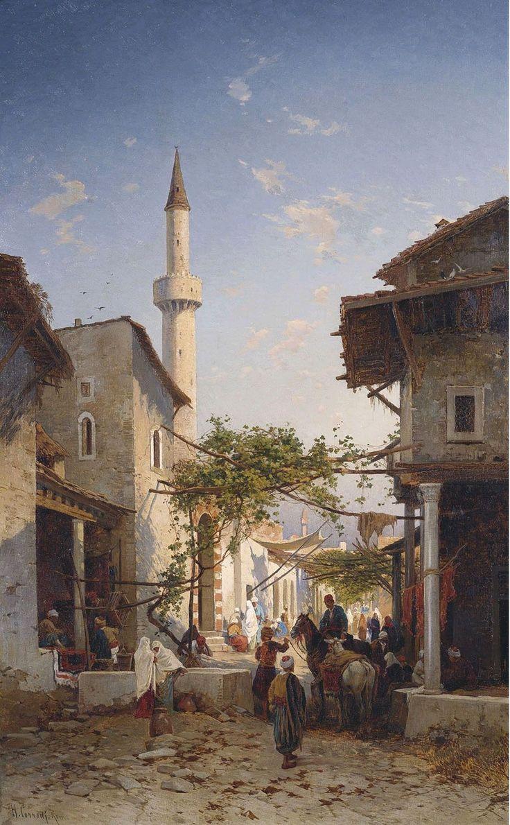Hermann Corrodi (Italian, 1844-1905). An Oriental Street Scene