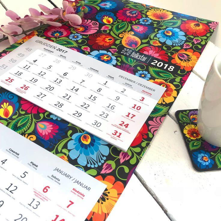 Kalendarz ścienny (trójdzielny) 2018 - łowicki czarny