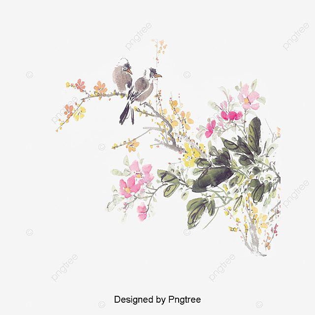 رسمت فروع الطيور والزهور تصميم ملصقات رسمت رسمت باليد الطيور Png وملف Psd للتحميل مجانا Birds Painting Art Bird On Branch