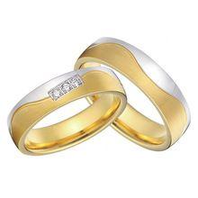 Par aliança de noiva sob encomenda 18 k amarelo banhado a ouro e cor de prata anéis de casamento bandas de titânio define snubni prsteny(China (Mainland))