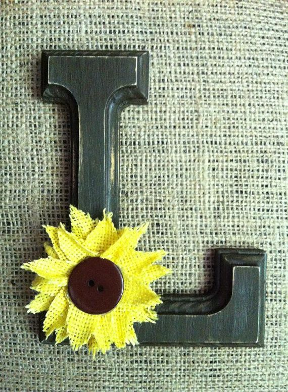 CUSTOM SUNFLOWER Yellow Brown Wooden Letter Cake Topper Distressed for Rustic Country Chic Western Wedding Reception Decor on Etsy, $20.00