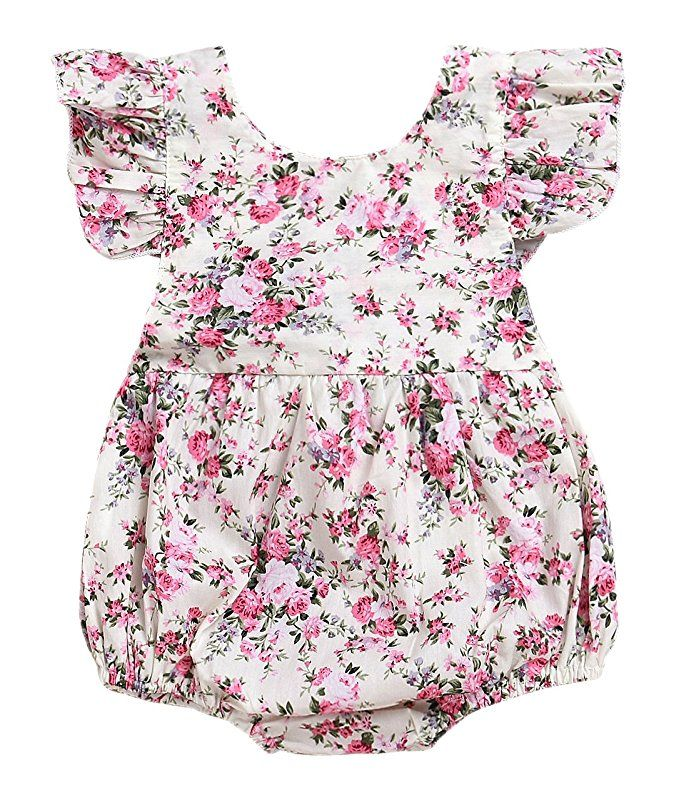 c2c4dba4b79e Seven Young Newborn Baby Girls Floral Print Backless Romper Infant Kids  Jumpsuit Outfit Playsuit Clothes(Floral 1