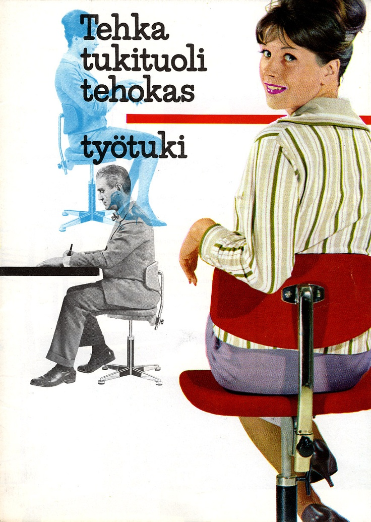 Young secretaries were employed to market Tehka chairs, the same ones they used at work. Increasing attention was paid to existing hierarchies within the workplace when designing offices. Finland became a pioneer in the emancipation of women. Modern offices were open and comfortable environments in which more relaxed attire was gradually accepted. Company directors still kept to themselves in their own offices, however, protected by traffic lights on the door. (In the 1960s)
