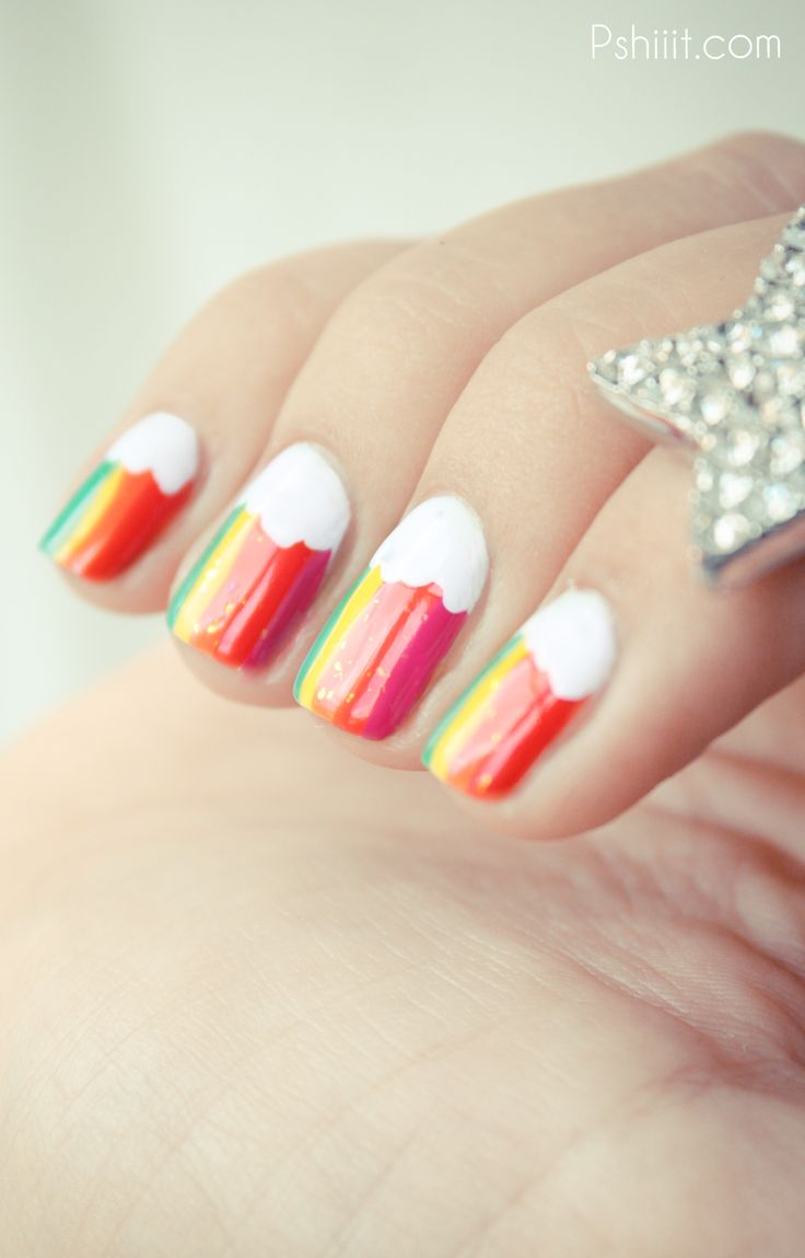 rainbow & cloud nails.