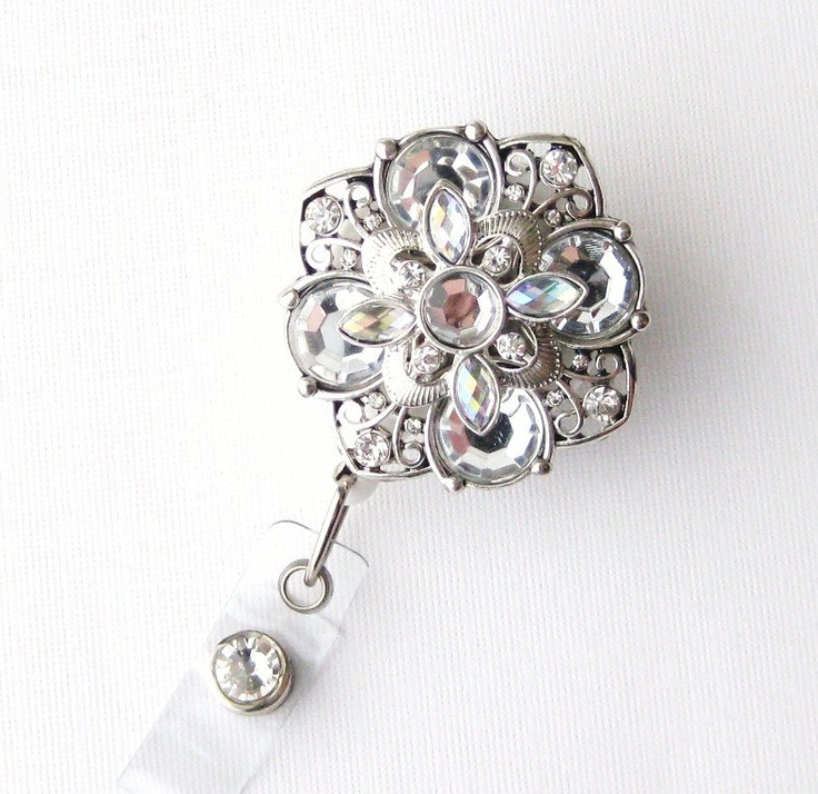 Vintage Lace Bling - Pretty Badge Pull - Unique Badge Reel - Stylish ID Badge Clip - Nurse Jewelry - Teacher Gift - RN Badges - BadgeBlooms. $18.00, via Etsy.