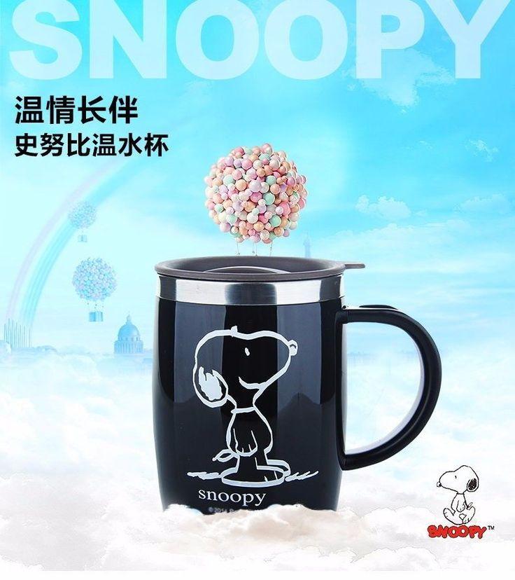 Snoopy 420ML Mug Coffee Cup Stainless Steel Milk Tea Keep With Handle bottle – TVDH-Market
