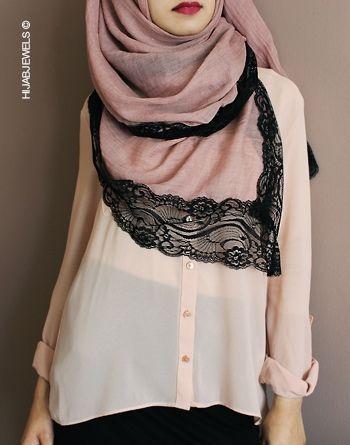 Pinterest: @eighthhorcruxx. Pink Saira Lace Hijab