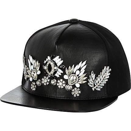 Black embellished trucker hat $70.00