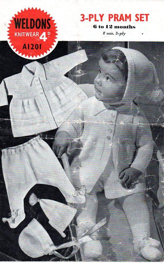 Vintage 1950's Baby 3 Ply Pram Set Coat hat Leggings