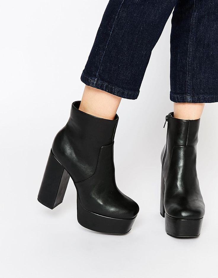 Faith Sapphire Black Platform Heeled Boots