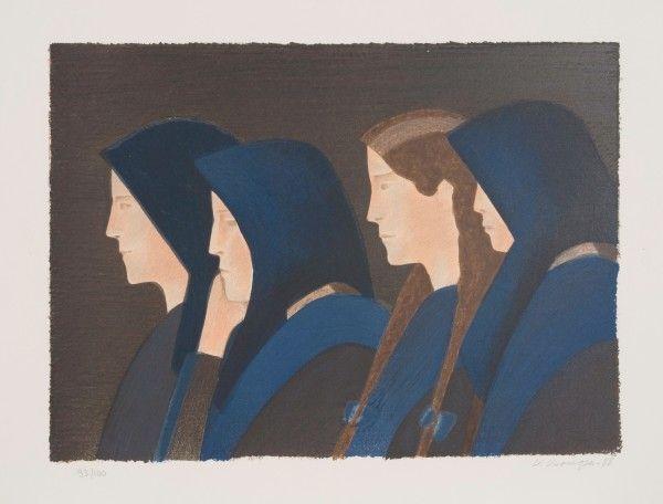 Veikko Vionoja Naisia seuroissa 1988 38,5 x 53 cm grafiikka värilitografia