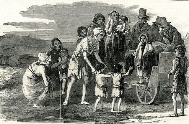 bout 250,000 people were officially recorded as having been evicted during the period 1849 - 1854. These were poor destitute people who could not pay the rent and many of whom literally died at the side of the road