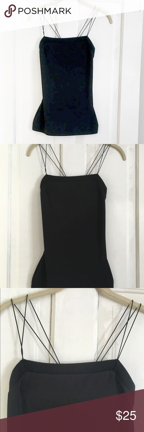 Express - Black Strappy Top. XS. This top criss-crosses in the back and has a nice figure-flattering fit. It's not skin tight, but slightly loose while form fitting. Very nicely made. Never been worn. Express Tops