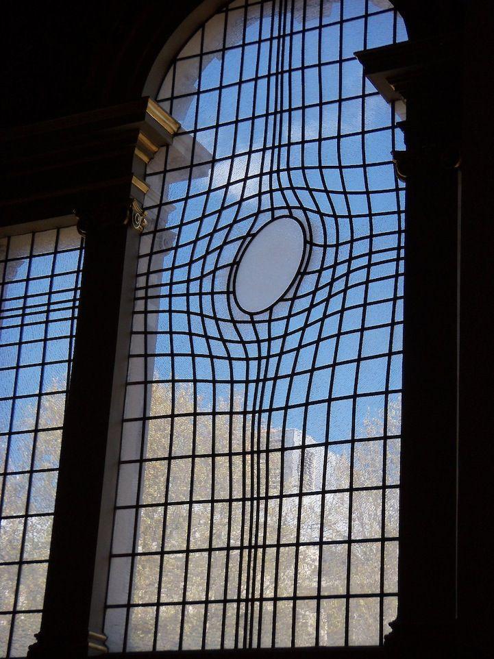 Unique Warped Window at London's Church of St. Martin