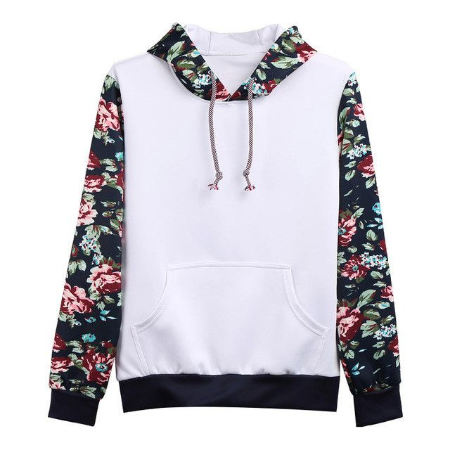 Fashion Men Hoodie Floral Print Mens Hoodies Casual Men's Clothing
