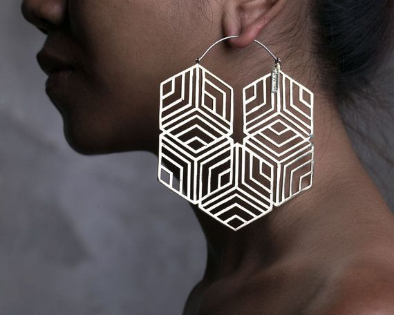Hexagonal Hoop Earring  Big Hoops  Big Earrings by eleven44jewelry