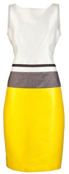 White, Yellow, Grey Colour Block Dress w/ Black Belt Detail