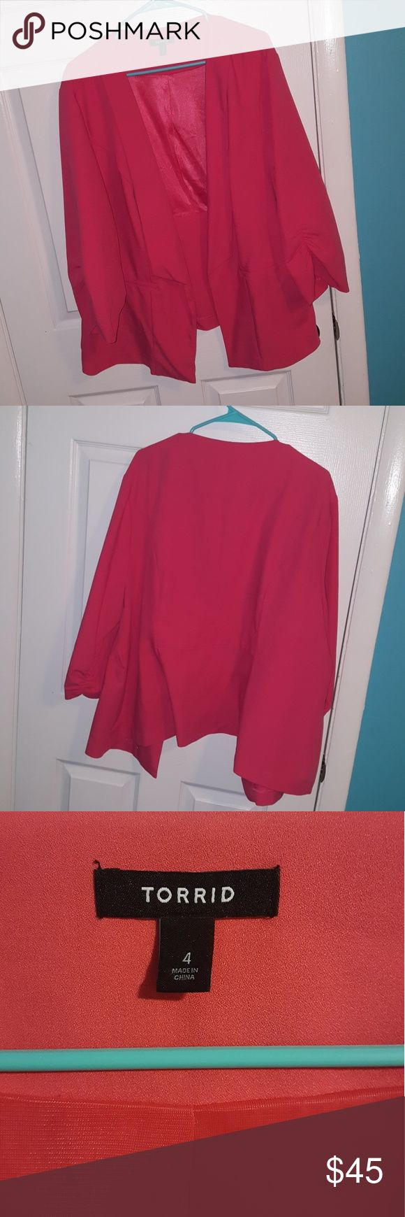 4 Torrid Hot Pink Blazer Never been worn. Perfect for work. Rouched sleeves and faux pockets. Coming from a smoke and pet free home. torrid Jackets & Coats Blazers