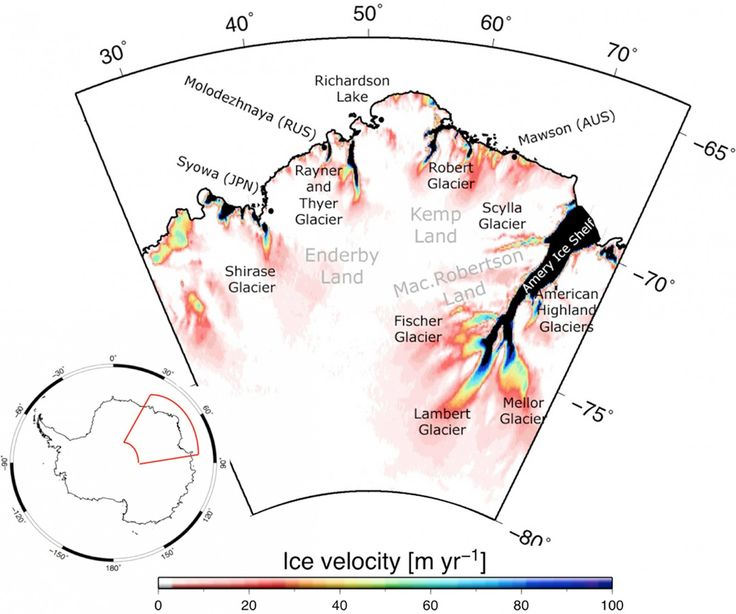 Tuesday, Aug. 08, 2017:  Map of ice velocity from the NASA MEaSUREs Program showing the region of Enderby Land in East Antarctica [Credit: Fig. 1 from Kallenberg et al. (2017) ]. The mass balance of an ice sheet is t…