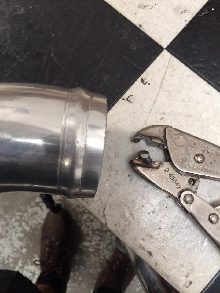 """Home made Homemade Bead Roller for tubing:  Grind the teeth off top and bottom, 1/4"""" rod on bottom and a groove up top. Fine tune the rod on the bottom. Made to basically a """"bump."""" This it two passes around the tube. Kinda sneak up on it."""