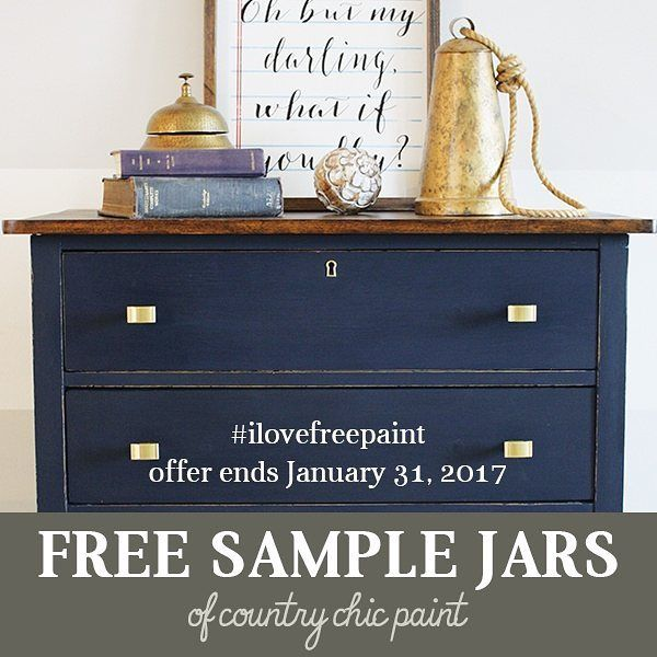 Get a #FREESAMPLE today!  From now until January 31st, 2017 you can sign up to receive one free 4 oz jar of Country Chic Paint from any of our participating retailers.  You can easily do a small project, such as a chair or a side table with this 4 oz jar of our eco-friendly and easy-to-use furniture paint. We want you to experience Country Chic Paint for yourself because we know that you'll fall in love with it!  Sign up by going to www.countrychicpaint.com/free-samples to receive a unique…