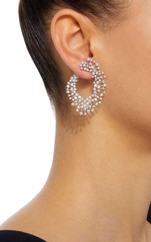 Luminous 18K White Gold and Diamond Earrings by Hueb