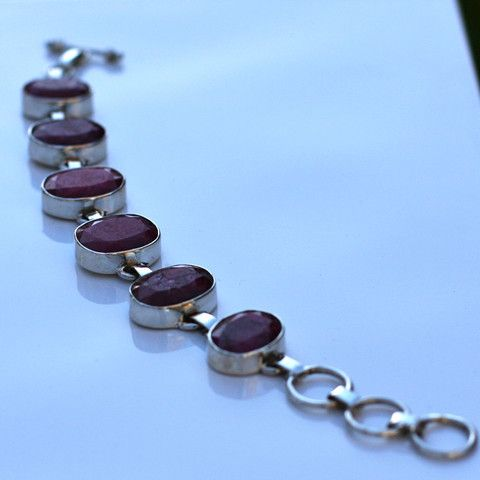 Root Ruby and Sterling Silver Bracelet - SilverBellas $158.00