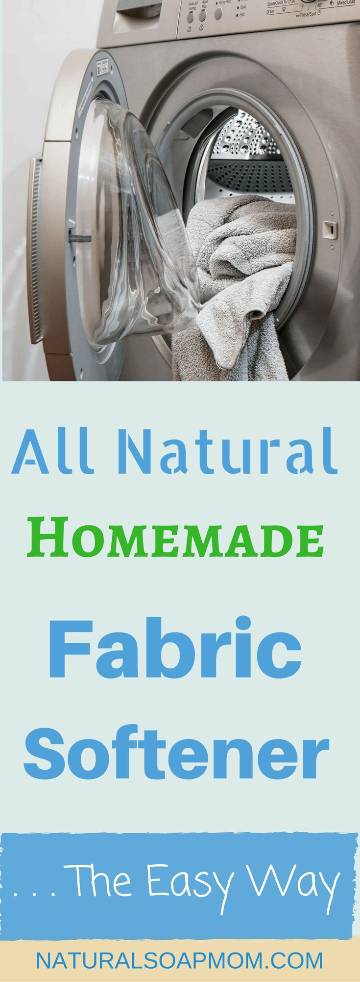Why does homemade fabric softener seem so complicated? I found too much information and ideas –DIY dryer sheets, DIY Fabric softener recipes, vinegar, Essential Oils, Epson salts. It makes your head spin! Instead do what works! Get All Natural, Homemade Fabric Softener – The EASY Way! Find out how easy the switch is – you can be making your own homemade fabric softener tomorrow – no recipe required. Just a handy shopping list! @naturalsoapmom.com