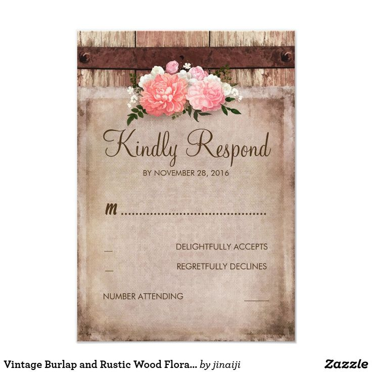 Vintage Burlap and Rustic Wood Floral Wedding RSVP Card Pink flowers bouquet rustic country wedding reply cards