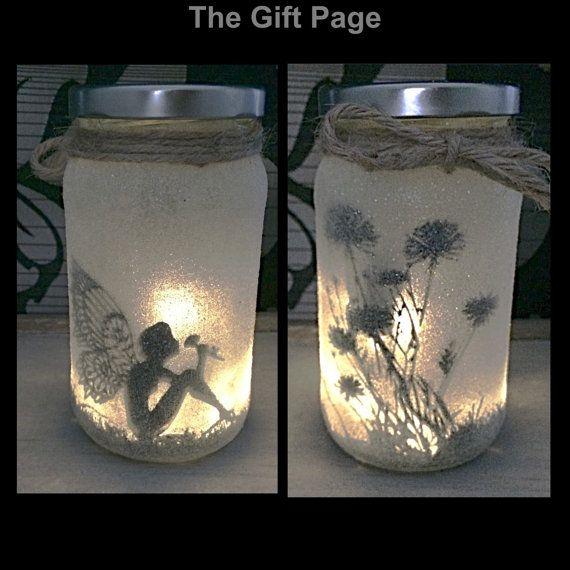 Nachtlicht, stimmungsvolle Beleuchtung, Fee, sitzen in einem Glas Fairy Jar, Glitter Glas, Weihnachten, Leuchten, Gläser, mason Gläser