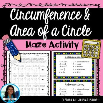 In this activity students will determine the area and circumference of a circle when given a radius or diameter to get through a maze. What's Included:  A maze page  A student reference sheet with formulas  An answer key for teachers Be sure to download the preview page for a sneak peek inside this resource!Links to Additional Circumference and Area Resources:Matching ActivityColoring Page ActivityMad Lib ActivityCircumference and Area of a Circle Activity PackThis Resource is Also a Part…