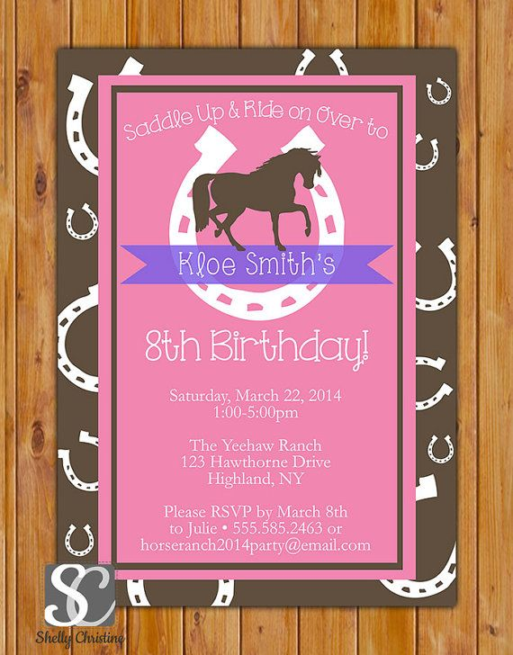 Horse Birthday Invitation Horse Riding Invite Lucky Horseshoe Western Pink Brown Purple Party Printable Invitation Printable Invite (153)