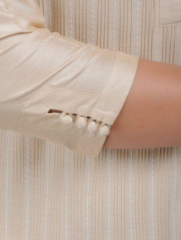 Buy Beige Kantha Embroidered Pintuck Cotton Kurta Katan Women Kurtas Online at Jaypore.com