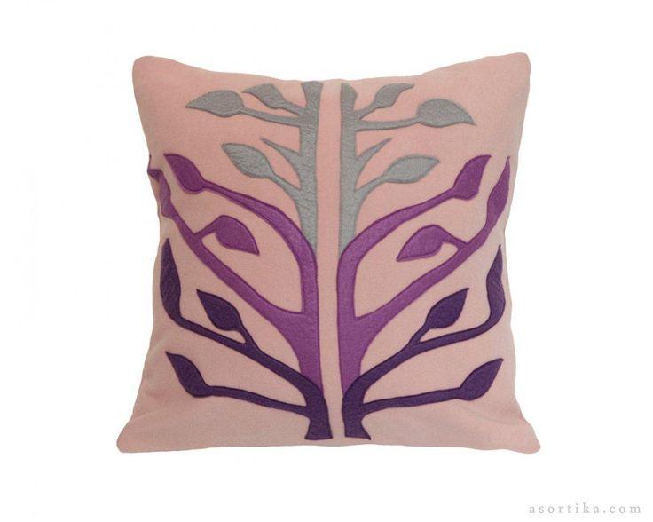 Lavantalı Tay Tüyu Hayat Ağacı El Yapımı Desen- Pembe Renkli Yastık - Lavantalı kırmızı nar çiçeği yastığı