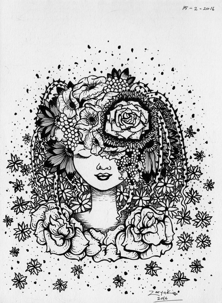 Flower Girl. A traditional work depicting a girl with flower hair.