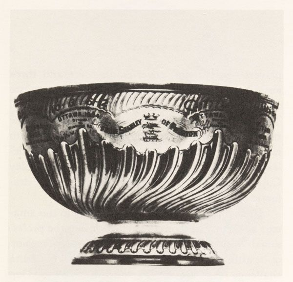 """Governor General Lord Stanley of Preston, a hockey fan, donated this cup, named in his honour, to be awarded to the """"champion hockey team in the Dominion of Canada"""". The Stanley Cup, 1893"""