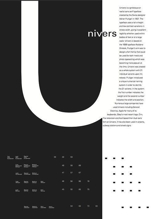 """Univers by Adrian Frutiger. I don't love this poster on the whole, but I appreciate the way the body copy cleverly turns negative space into the right side of the large letter """"U""""."""