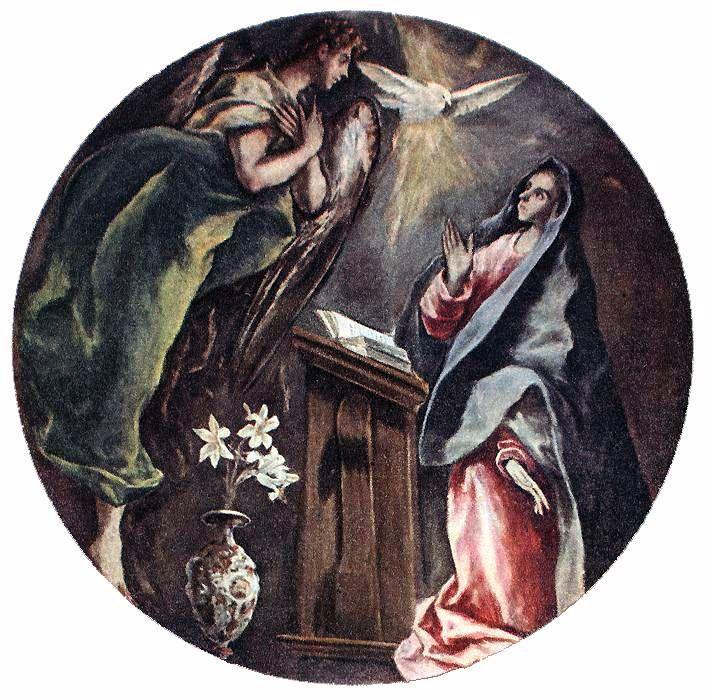Zvěstování ~ Annunciation; El Greco, 1603-1605, uloženo v Hospital de la Caridad, Illescas