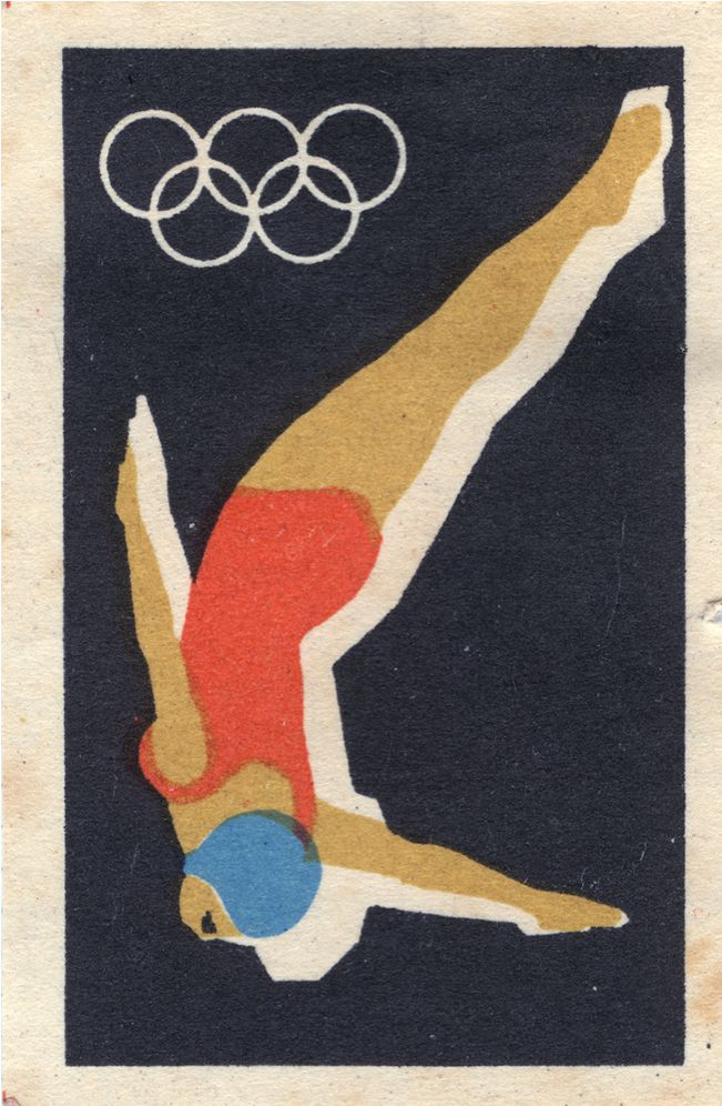 Perfect form. I'm guessing this is from that excellent series of Soviet matchboxes in honour of the 1964 Tokyo Olympics.