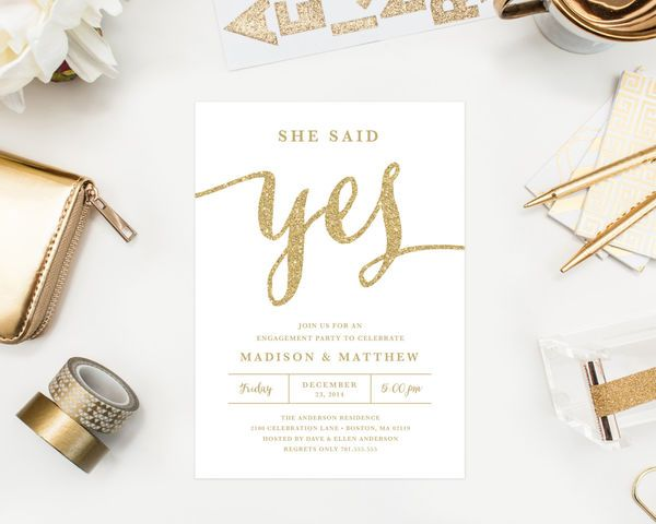 Especially in warm weather, white and gold feels more relaxed and refreshing than darker hues. Whether your party is casual or upscale, white and gold is a great color combo for summer engagement party invitations.