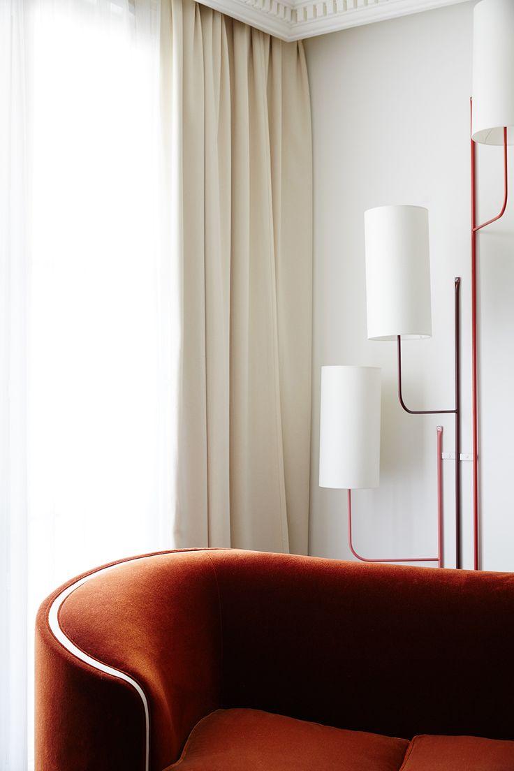 Lovely Hotel Decor, Velvet Sofa, Hospitality Design, Living Spaces, Parisian  Decor, Banquette Seating, Mood Images, Asylum, Drapery Design Inspirations