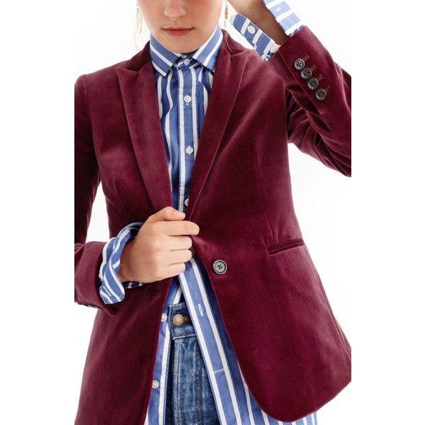 Petite Women's J.crew Parke Velvet Blazer ($168) ❤ liked on Polyvore featuring outerwear, jackets, blazers, cabernet, petite, j crew jacket, velvet blazers, petite blazer jackets, velvet jacket and petite jackets