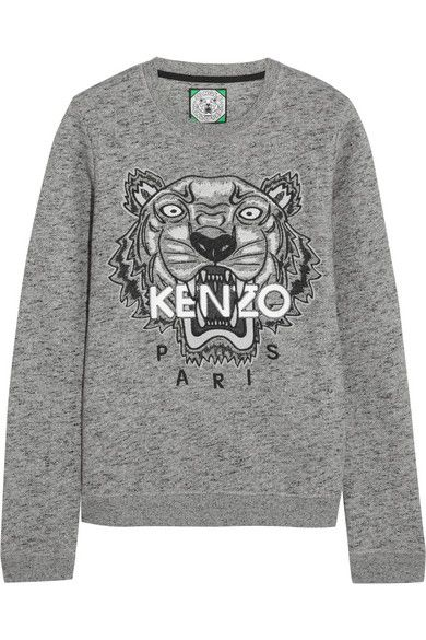 KENZO PARIS tiger embroidered cotton oversized sweatshirt l £158.33
