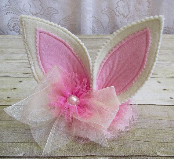 Ivory & Pink Felt Bunny Ears Headband Easter Pageant by cd1ofakind