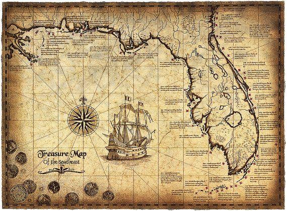 """Carte de l'édition limitée du sud-est, 16 """"x 22"""" carte au Trésor, naufrages, carte du naufrage, golfe du Mexique, vieilles cartes de Trésor, Trésor de pièces de monnaie"""