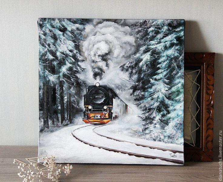 Купить Паровоз - зима, паровоз, Гарри Поттер, хогвартс, хогвартс экспресс, поезд, зимний пейзаж