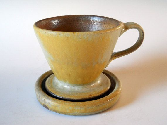 Pour Over Coffee Maker Ceramic : Ceramic pour over coffee filter with tray, handmade slow pour coffee maker Ceramics, Pour over ...